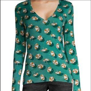 NWT Gucci Green V Neck Cashmere & Silk Sweater